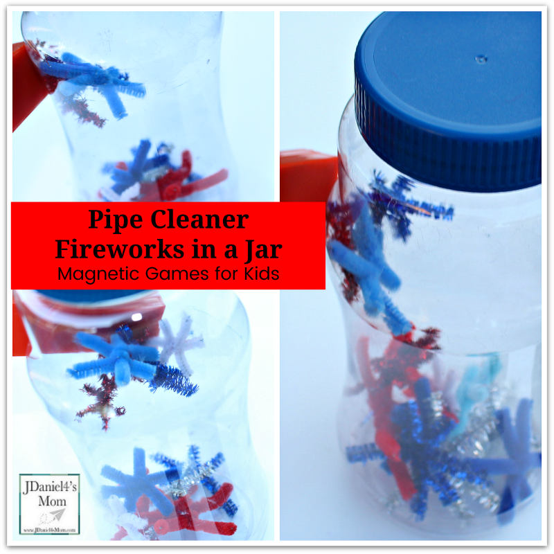 Magnetic Games for Kids- Pipe Cleaner Fireworks in a Jar