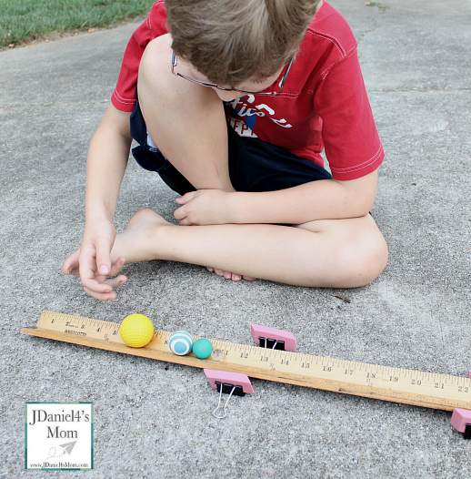 Moving Ball Down a Yard Stick Road Science Project Idea Binder ClipsPushing 2