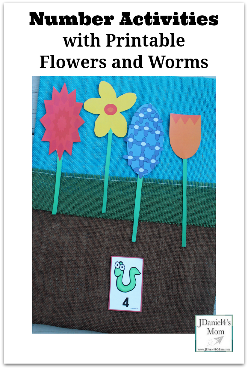 Number Activities with Printable Flowers and Worms - This fun math activity for young children is a fun way to work on numbers.