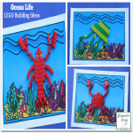LEGO Building Ideas : Ocean Life - Building directions and free printable ocean mat a shared in this post.