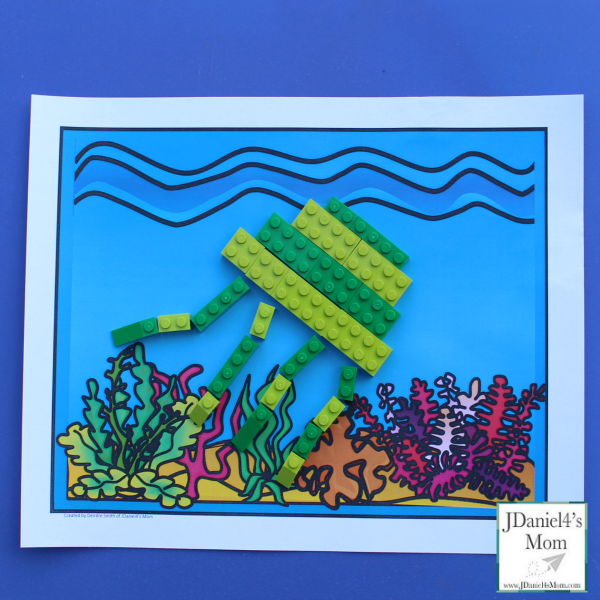 LEGO Building Ideas : Ocean Life - Building directions and free printable ocean mat are shared in this post.