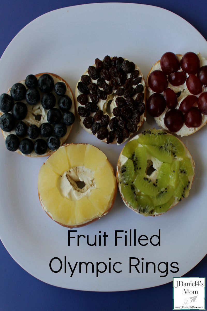 Olympics for Kids- Fruit Filled Olympic Rings- Each Olympic ring is a different fruit.