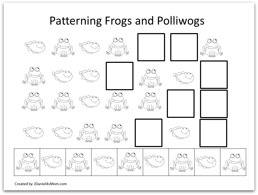 Frog Coloring Pages and Learning Activities- Life Cycle of a Frog Coloring Page- Patterning Frogs