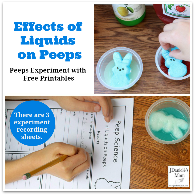 Peeps Experiment with Free Printables- Effects of Liquids on Peeps - This post offers three result recording sheets.