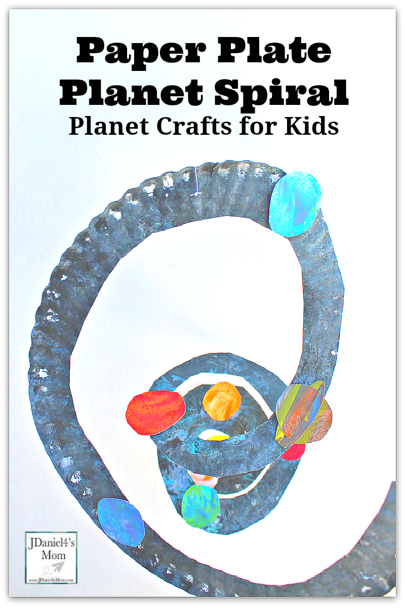 Planet Crafts for Kids- Paper Plate Spiral with Paper Towel Dabbed Planets