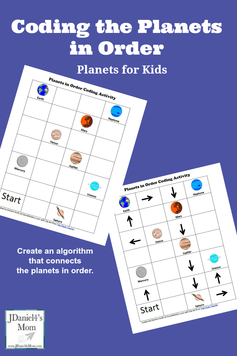 Planets for Kids: Coding the Planets in Order - Kids will create an algorithm by connecting the planets in order.