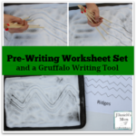 Pre Writing Worksheet Set and a Gruffalo Writing Tool - This set includes dotted line tracing sheets and solid line tracing sheets for kids to use as guides or to trace on.