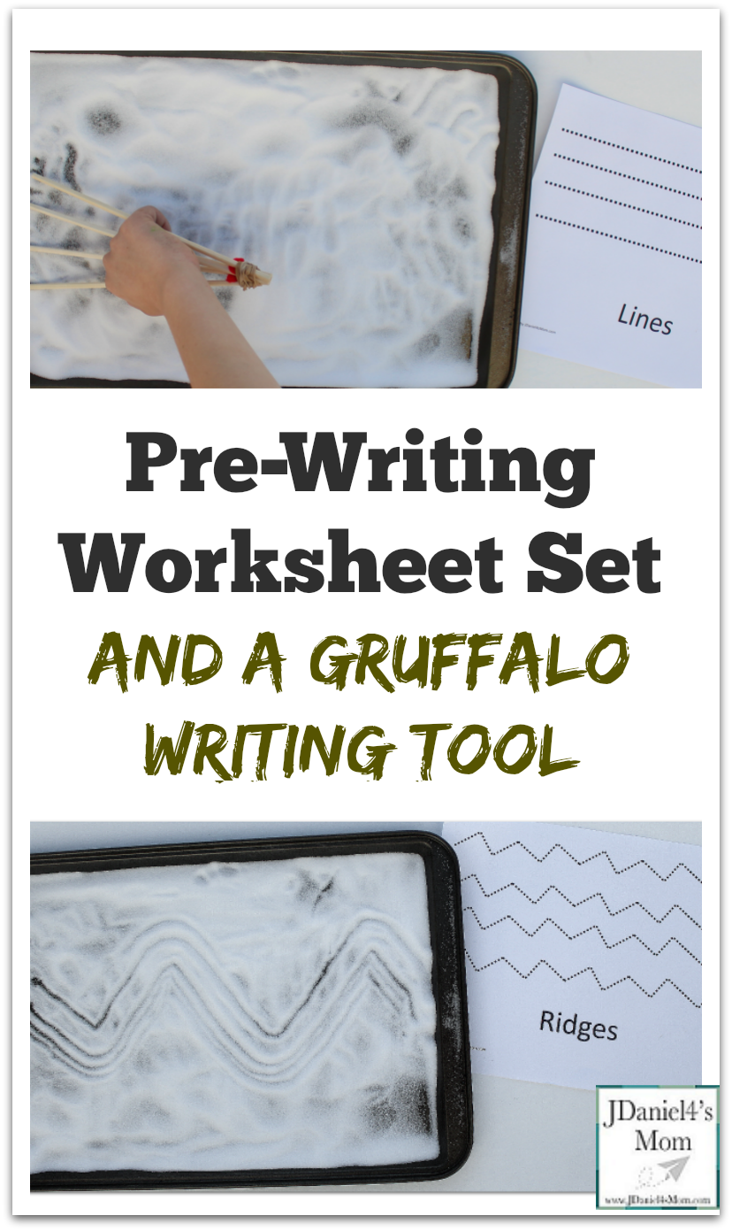 Pre Writing Worksheet Set and a Gruffalo Writing Tool - This homemade Gurffalo claw and set of eight pre-writing worksheets will be fun to explore.