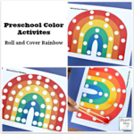 Preschool Color Activities - Roll and Cover Rainbow with Simple and Challenging Printables