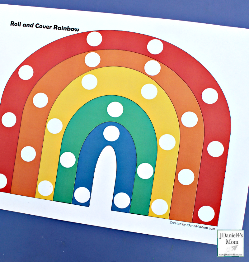 Preschool Color Activities - Roll and Cover Rainbow - This is the simple version of the roll and over rainbow