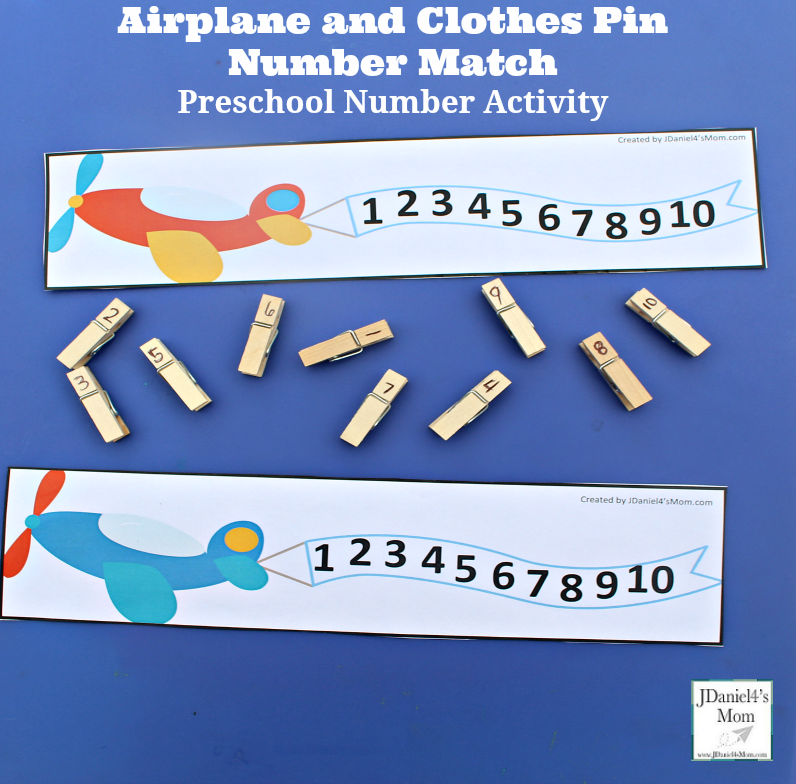 Preschool Number Activity- Airplane and Clothes Pin Number Match