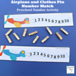 Preschool Number Activity- Airplane and Clothes Pin Number Match Featured