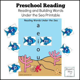 Preschool Reading – Reading and Building Words Under the Sea Printable