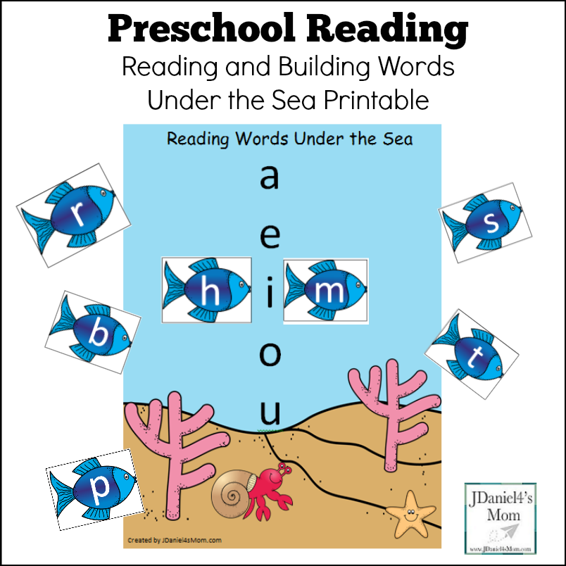 Preschool Reading Under the Sea Printable with Letters - Your students at school or children at home can build words and word families on an under the sea work mat.