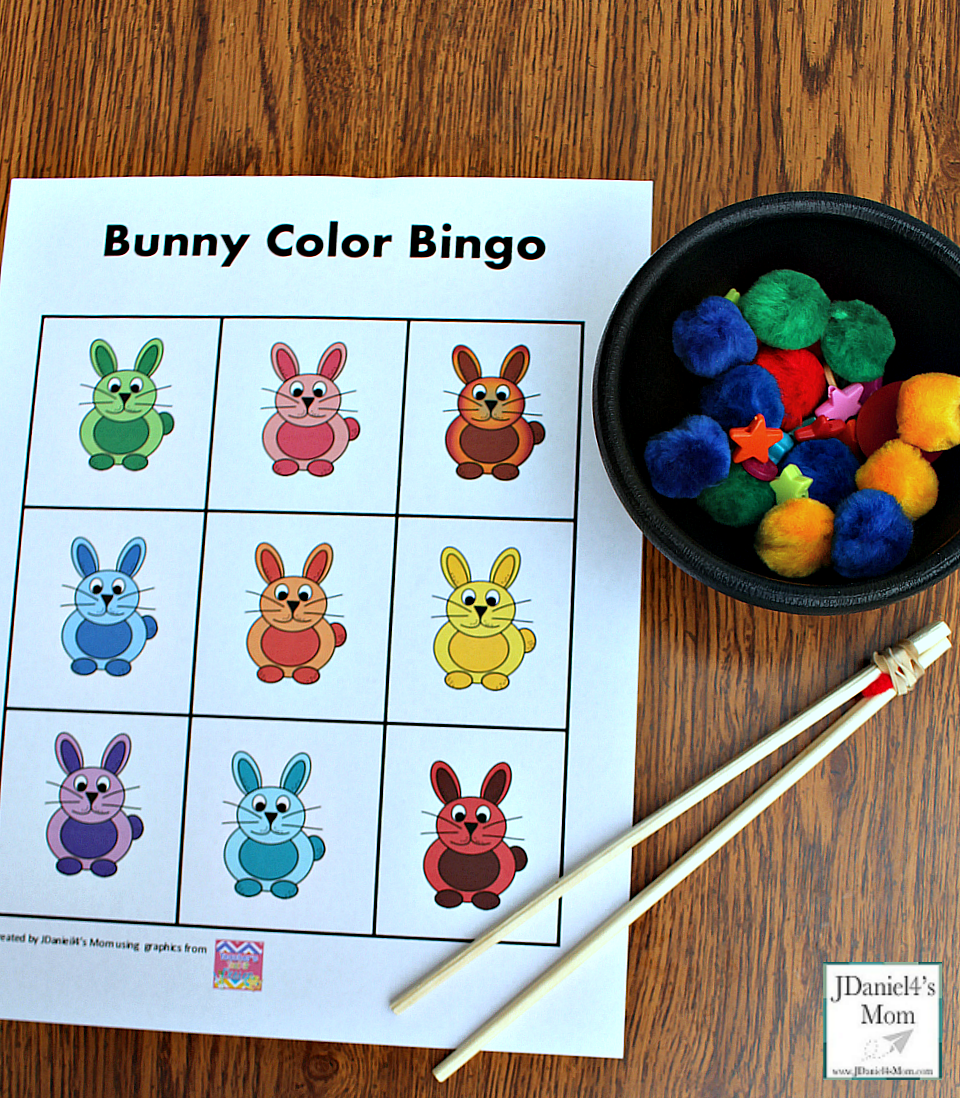 Printable Bingo Cards - Bunny Color Bingo with markers