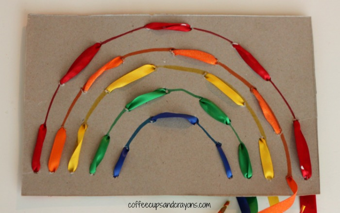 Rainbow Lacing Busy Bag from Coffee Cups and Crayons  This is an awesome fine motor busy bag activity. Children will love weaving various rainbow colors to create beautiful rainbows.