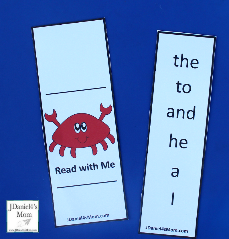 Reading Dolch Words with Crabby the Crab Printables Supplies