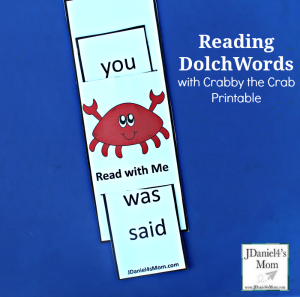 Reading Dolch Words with Crabby the Crab Printables