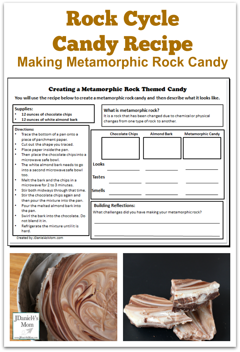 Rock Cycle Candy Recipe Making Metamorphic Rock Candy- This is a fun way to explore the rock cycle. This recipe is the second in a series that explores sedimentary, metamorphic, and igneous rocks through cooking. Each post has a printable with the recipe and an exploration area.