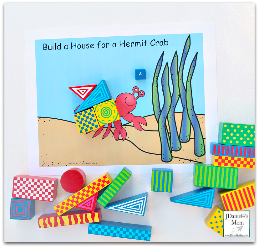 STEM Projects with Blocks- Hermit Crab House Four Blocks and Die