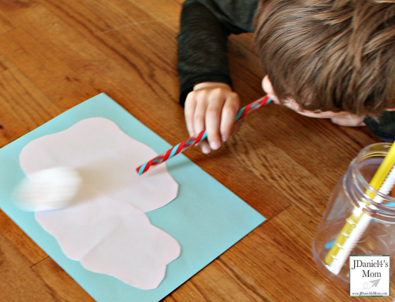 Sensory Activity- Blowing Clouds with a Straw - Blowing a Cosmetic Pad