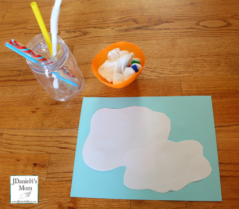 Sensory Activity- Blowing Clouds with a Straw -Supplies needed for the activity.