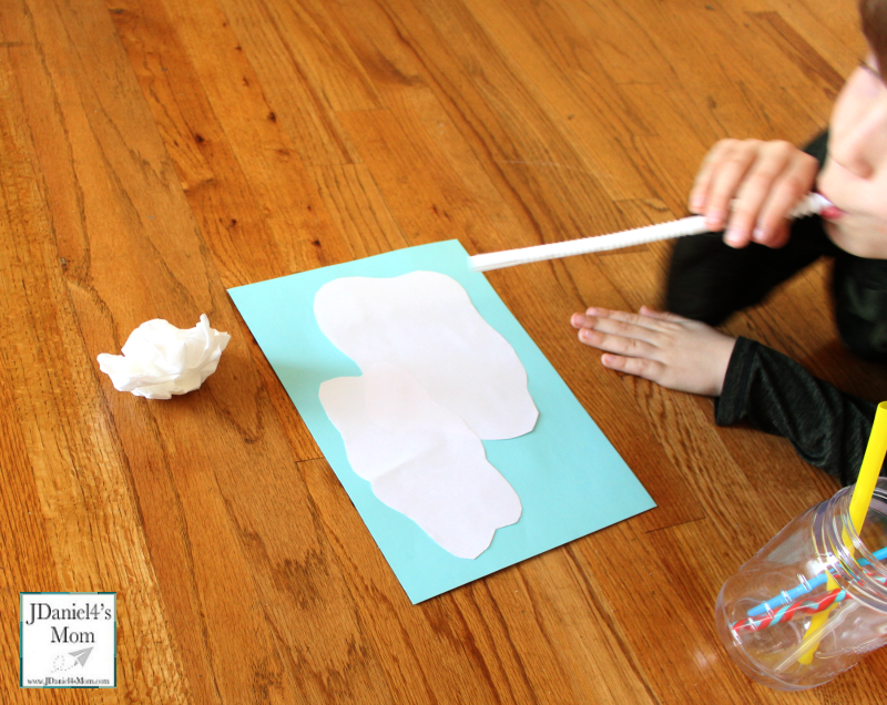Sensory Activity- Blowing Clouds with a Straw: Blowing a Tissue