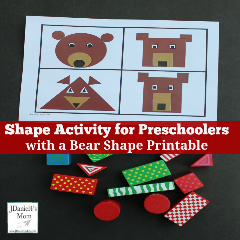 Shape Activity for Preschoolers with Free Bear Shape Printable