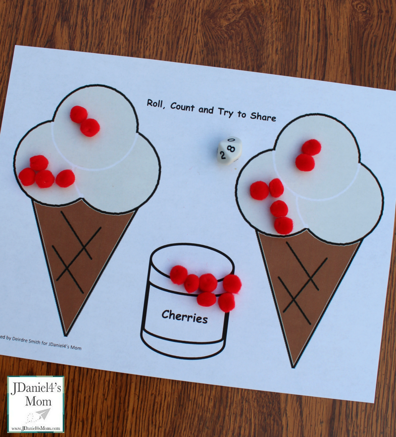Simple Division Math Activity with an Ice Theme- It could be done after reading Should I Share My Ice Cream?