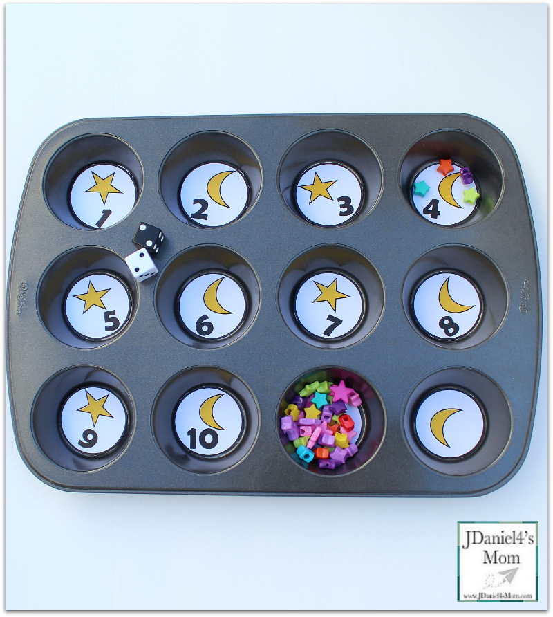 Space Math- Moon and Star Muffin Tin Number Game - Exploring Numbers with these Muffin Tin printables will be out of this world.