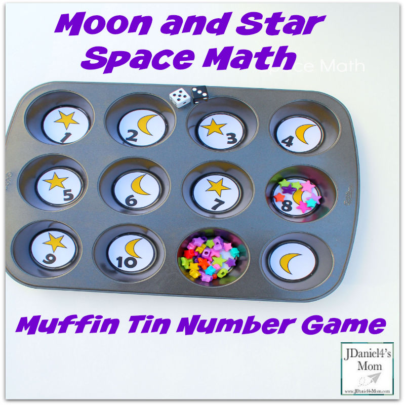 Space Math- Moon and Star Muffin Tin Number Game - Exploring Numbers with these Muffin Tin Priintables will be a lot of fun!