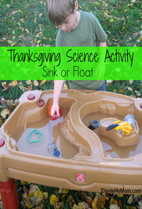 Thanksgiving Science Activity for Kids- Sink or Float : Kids will see what Thanksgiving related kitchen items will sink or float.