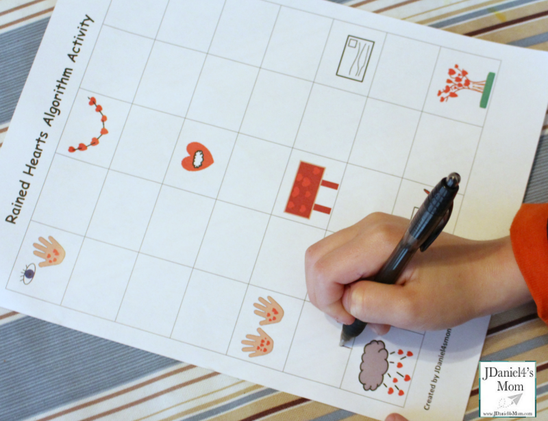 The Day it Rained Hearts Algorithm Activity - This printable works on sequencing and coding.