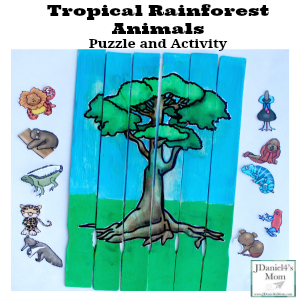 Tropical Rainforest Animals Puzzle and Activity