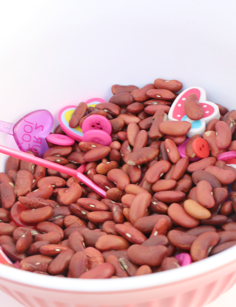 Valentine's Day Sensory Activity in Bowl- This is an invitation to explore a number of skill including fine motors skills and eye and hand coordination.