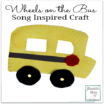 Wheels on the Bus song inspired craft made with a paper plate. Kids will love that the wheels move.