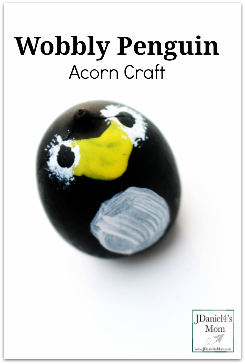 Wobbly Penguin Acorn Craft- There are a variety of way to use the finished craft. Please stop by to see how we used them in activities and games.