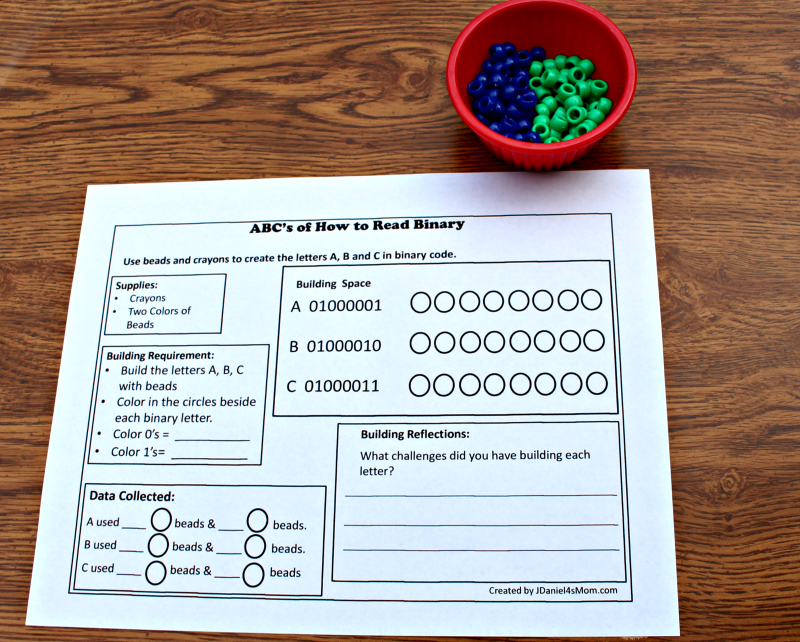 ABC's of How to Read Binary STEM Activity with Printable - Coding Supplies