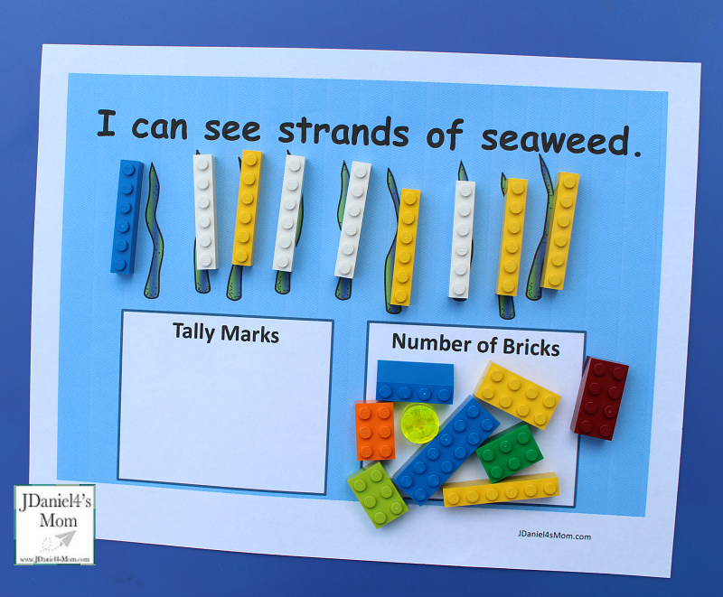 Ocean Themed Counting Worksheets to Use with LEGO- This set includes worksheets for numbers one thru ten for kids to explore. Counting with one to one correspondence and tally marks. There is a fun way to check your answers.