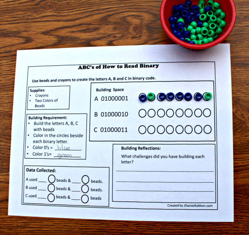 ABC's of How to Read Binary STEM Activity with Printable - Beads in the Binary Code Circles