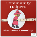 Community Helpers Fire Hose- This is a great way to work on counting numbers. Children can see the numbers coming before and after the number they are pulling through.