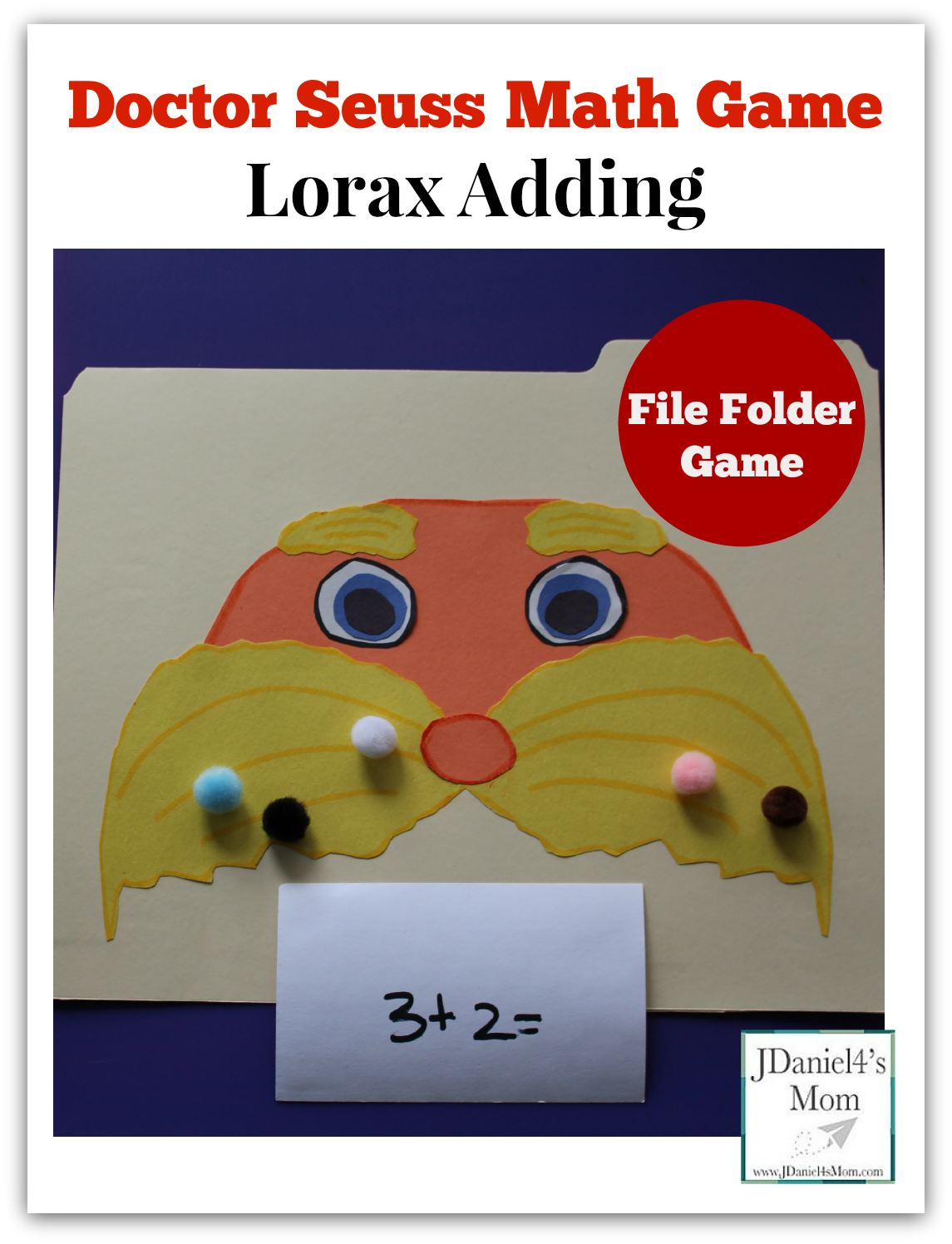 doctor seuss math game lorax adding with file folder