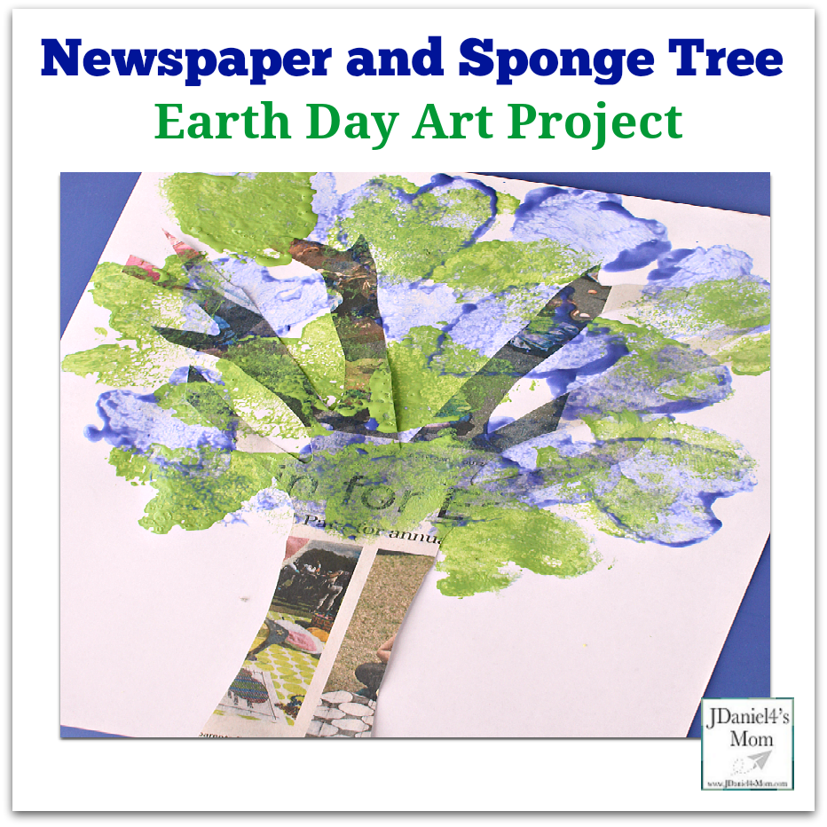 Earth Day Art Project- Newspaper and Sponge Tree