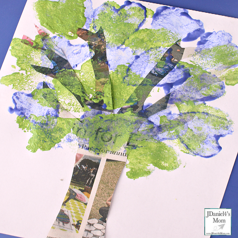 Earth Day Art Project Newspaper Tree Completed