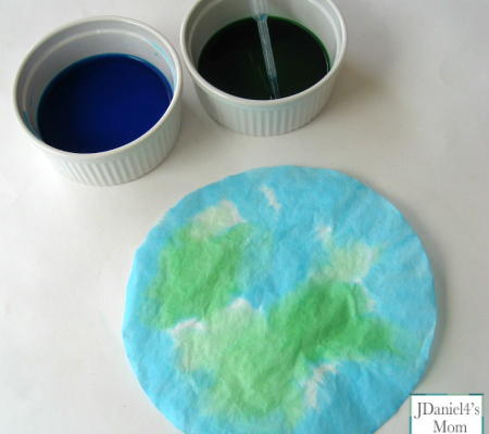 Earth Day Craft for Kids- Coffee Filter Earths