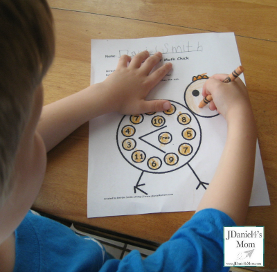 Easter Coloring Page with Math and Reading Skills