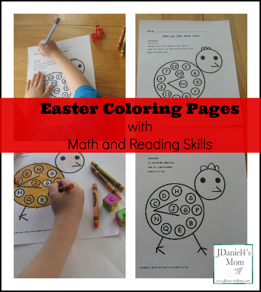 Easter Coloring Pages with Math and Reading Skills