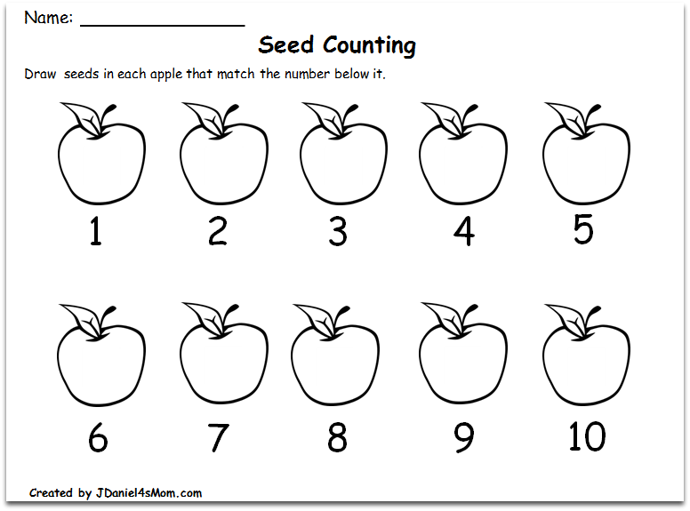 Counting Worksheets 1-10 with an Apple Theme : Writing the Number of Seeds in Order