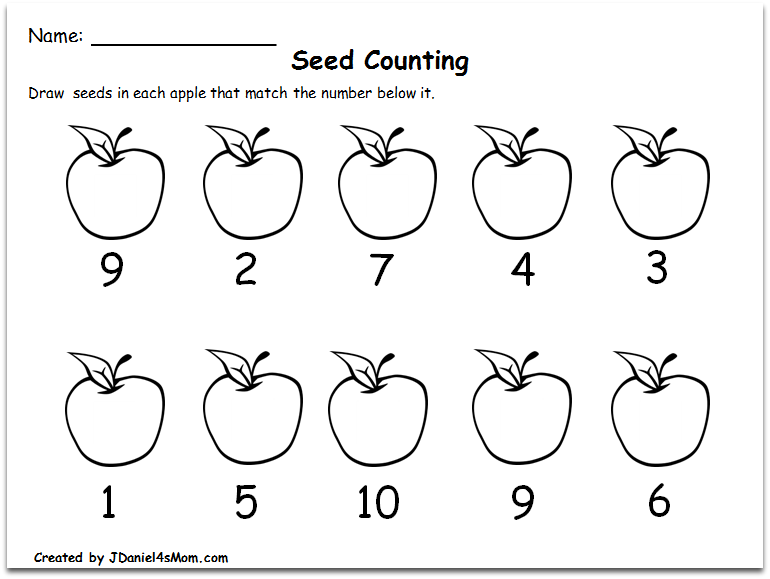 Counting Worksheets 1-10 with an Apple Theme : Writing the Number of Seeds with the Numbers Mixed Up