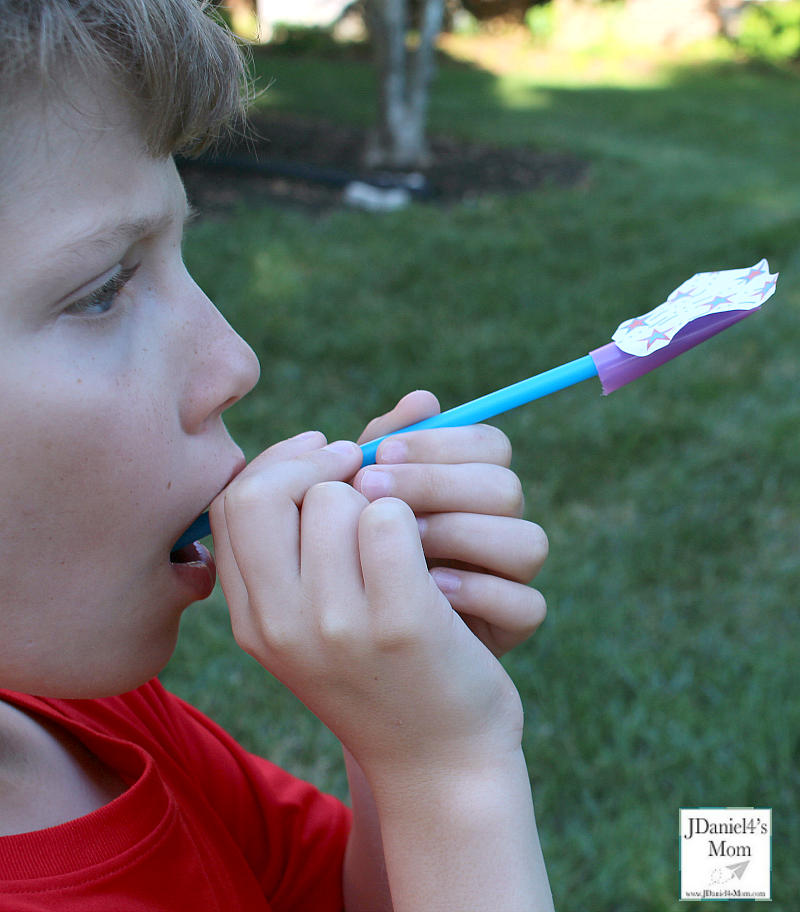 Fireworks Straw Rockets with Printable - Getting Ready